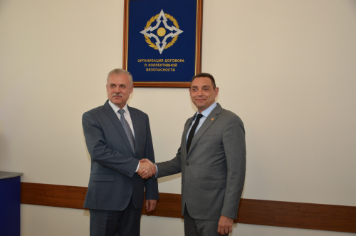 The CSTO Secretary General Stanislav Zas discussed cooperation in the military-political sphere with the Minister of Defense of the Republic of Serbia Aleksandar Vulin